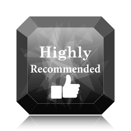 Highly recommended icon, black website button on white background. Stock Photo