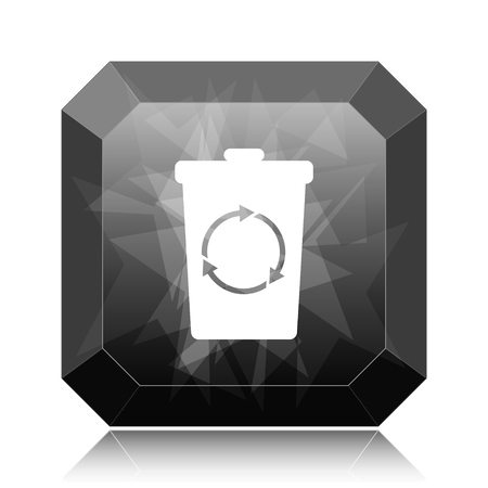 Recycle bin icon, black website button on white background.