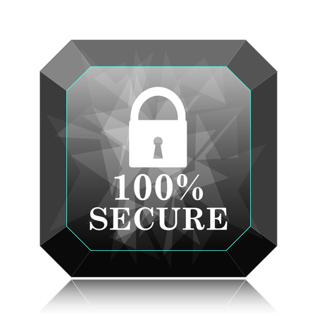 100 percent secure icon, black website button on white background.