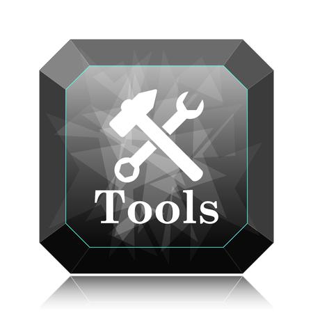 Tools icon, black website button on white background.