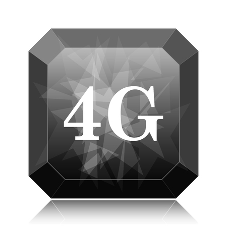 tv tower: 4G icon, black website button on white background. Stock Photo