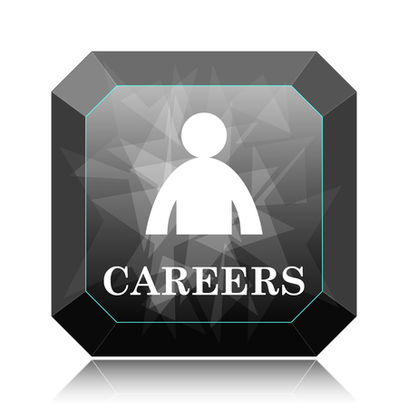 Careers icon, black website button on white background. Stock Photo