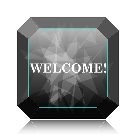 Welcome icon, black website button on white background.