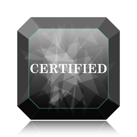 Certified icon, black website button on white background.
