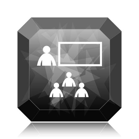 Presenting icon, black website button on white background.