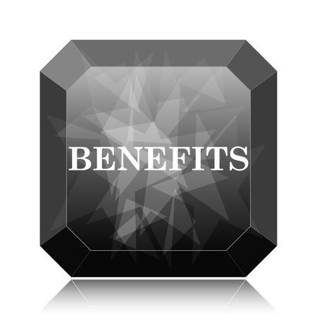Benefits icon, black website button on white background.