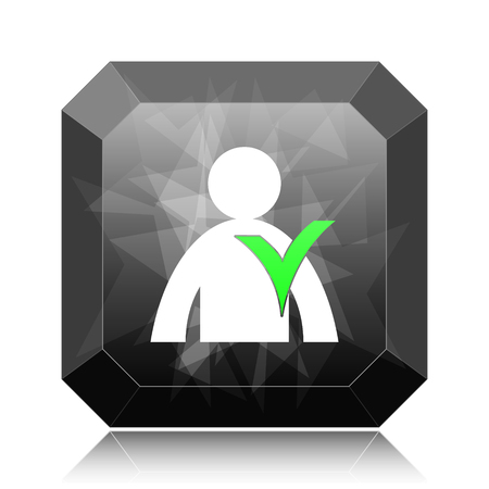 User online icon, black website button on white background.