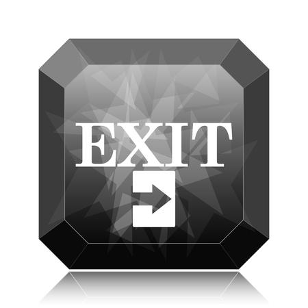 Exit icon, black website button on white background.