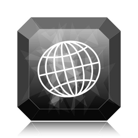 Globe icon, black website button on white background.