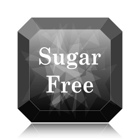 Sugar free icon, black website button on white background.