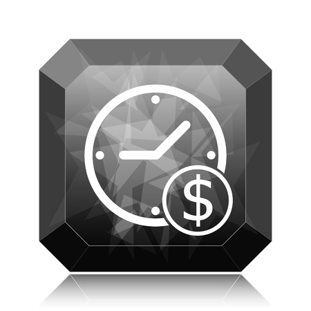 Time is money icon, black website button on white background.