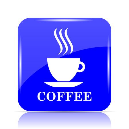 Icona della tazza di caffè, pulsante blu sito web su sfondo bianco.