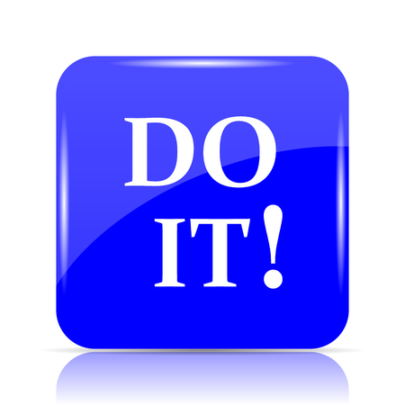 just do it: Do it icon, blue website button on white background. Stock Photo