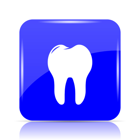 Tooth icon, blue website button on white background.