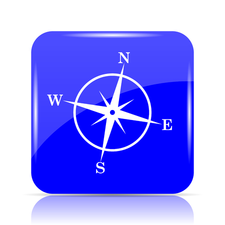 geodesy: Compass icon, blue website button on white background.