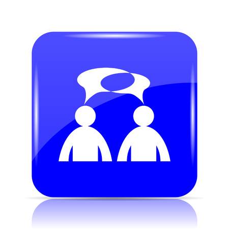 Comments icon, blue website button on white background. - men with bubbles