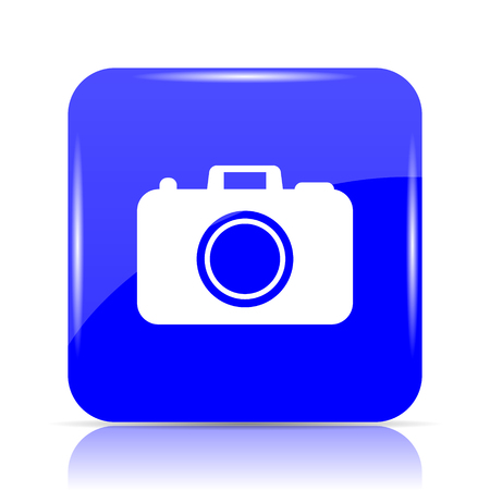 Photo camera icon, blue website button on white background.