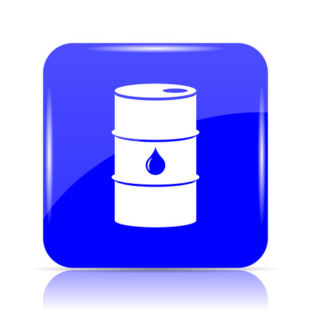 Oil barrel icon, blue website button on white background.