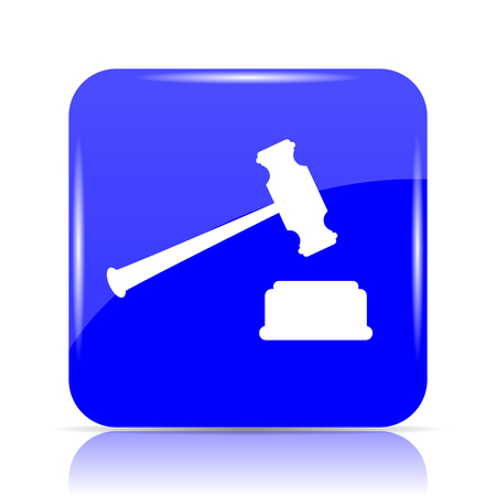 Judge hammer icon, blue website button on white background.
