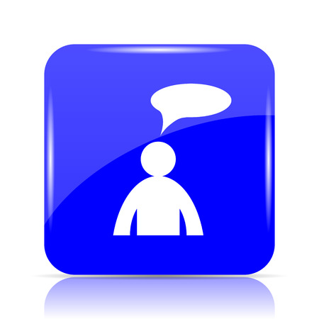 Comments icon, blue website button on white background. - man with bubble Stock Photo