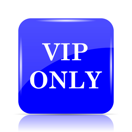 VIP only icon, blue website button on white background.