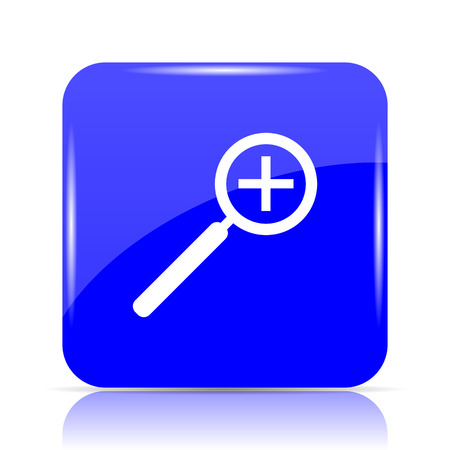 Zoom in icon, blue website button on white background. Stock Photo