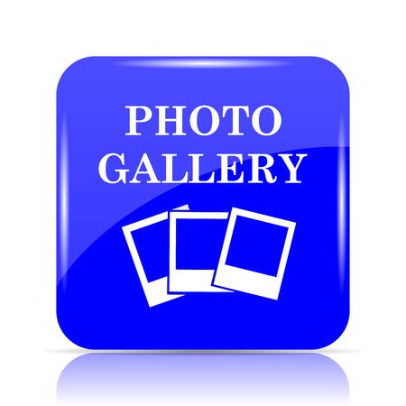 写真ギャラリーのアイコン、青い白い背景の上ボタンのウェブサイト。 写真素材