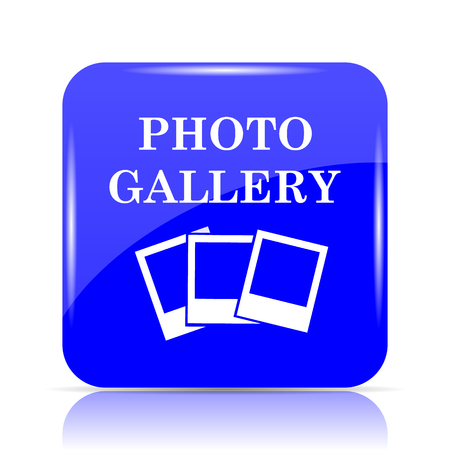 Photo gallery icon, blue website button on white background.
