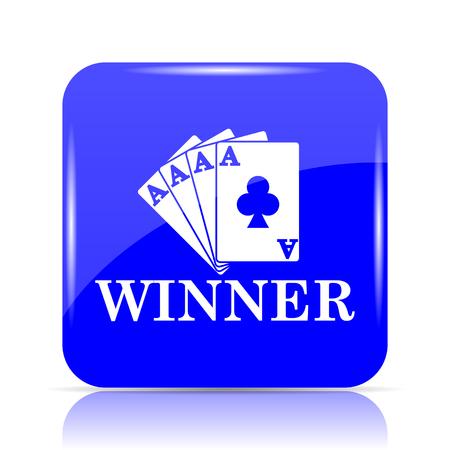 Poker winner icon, blue website button on white background.