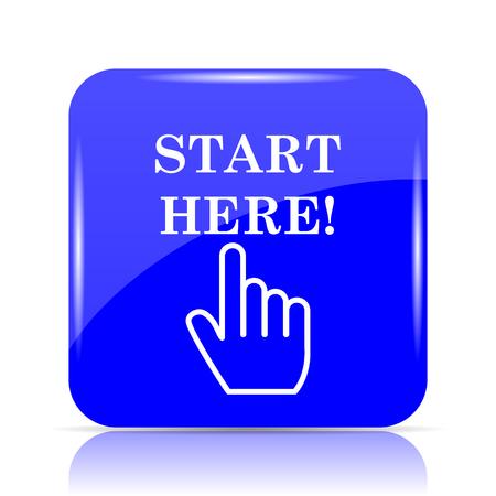 Start here icon, blue website button on white background.