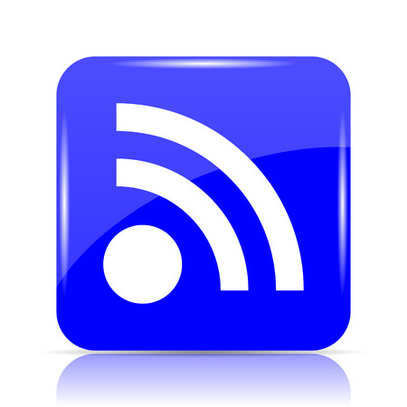 Rss sign icon, blue website button on white background.