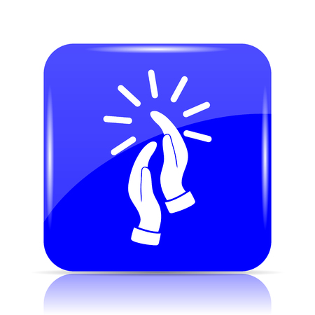 Applause icon, blue website button on white background.