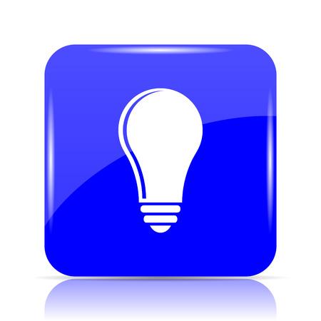 Light bulb - idea icon, blue website button on white background. Stock Photo