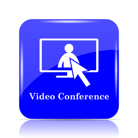 Video conference, online meeting icon, blue website button on white background. Stock Photo
