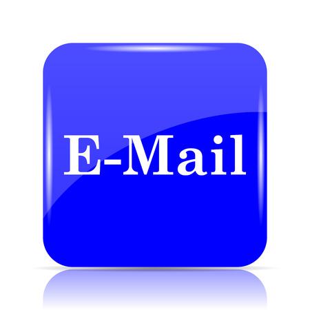 E-mail icon, blue website button on white background.