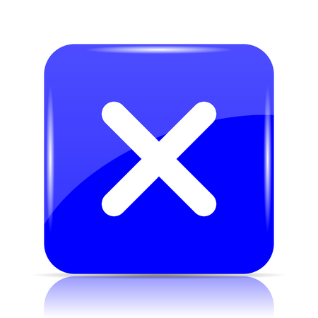 X close icon, blue website button on white background.