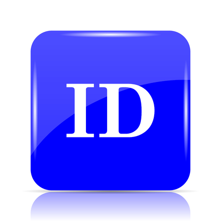 ID icon, blue website button on white background.