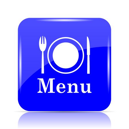 Menu icon, blue website button on white background.