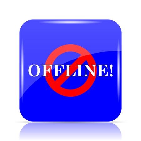 Offline icon, blue website button on white background. Stock Photo