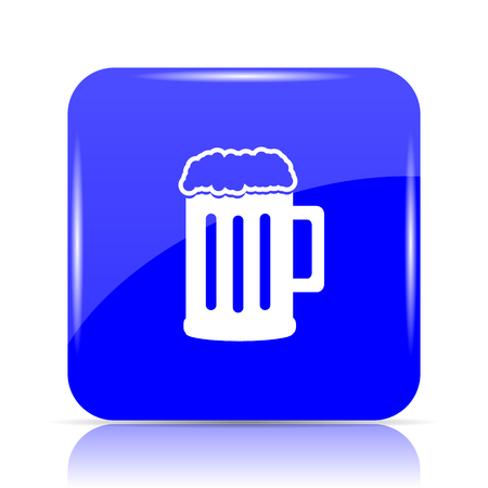 Beer icon, blue website button on white background.
