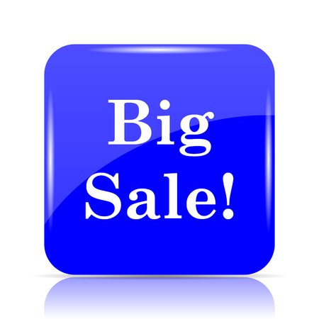 Big sale icon, blue website button on white background.