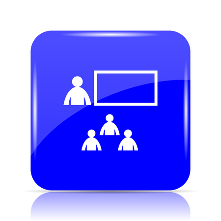 stage coach: Presenting icon, blue website button on white background.