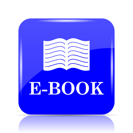 E-book icon, blue website button on white background. Stock Photo