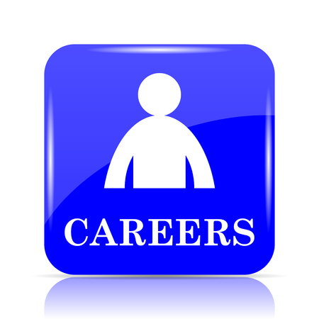 Careers icon, blue website button on white background. Stock Photo