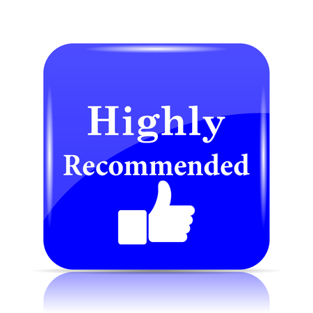 Highly recommended icon, blue website button on white background. Stock Photo