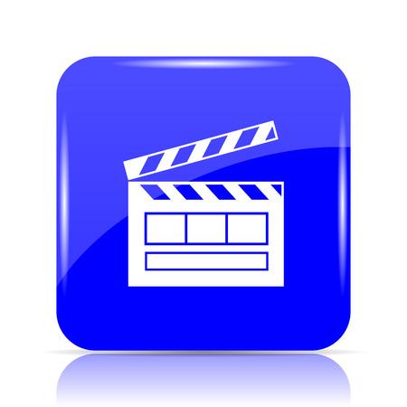 Movie icon, blue website button on white background.