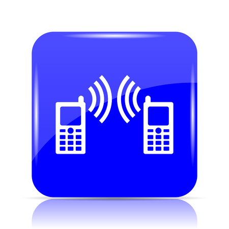 Communication icon, blue website button on white background. Stock Photo