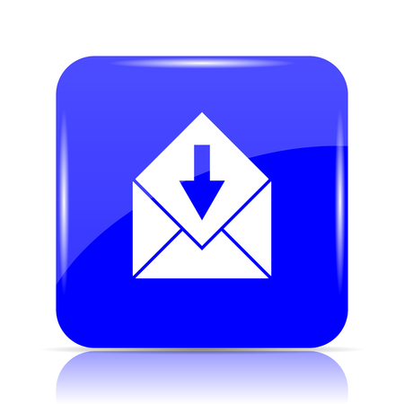 Receive e-mail icon, blue website button on white background. Stock Photo