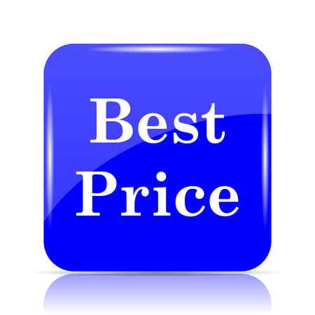 Best price icon, blue website button on white background.