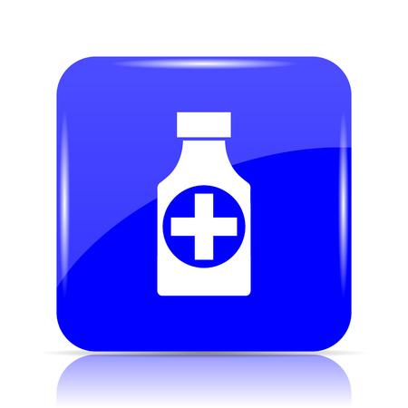 Pills bottle  icon, blue website button on white background.